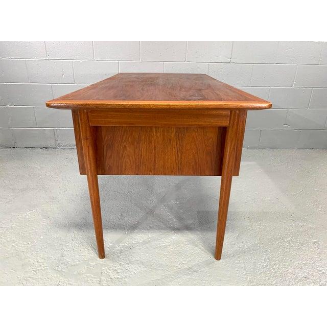 Wood Danish Modern Teak Desk Attributed to Kai Kristensen For Sale - Image 7 of 10