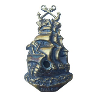 1930'S Brass Galleon Door Knocker For Sale