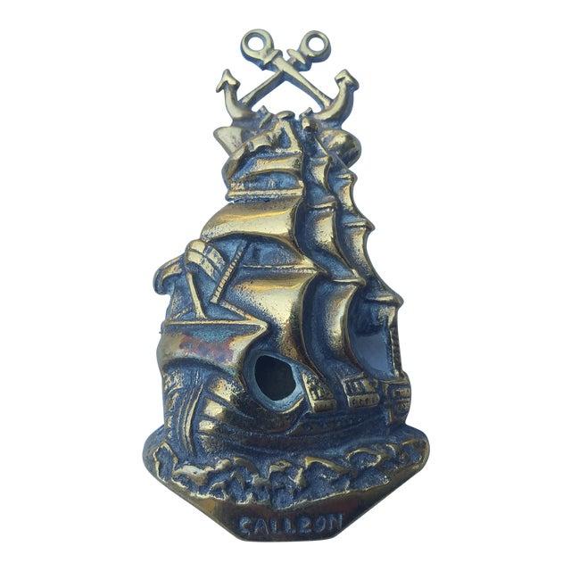 1930'S Brass Galleon Door Knocker For Sale