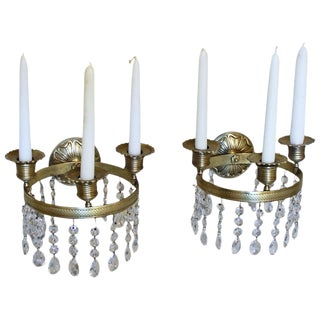 19th Century French Empire Brass and Crystal Wall Sconces - a Pair
