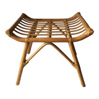 Vintage Bamboo Rattan Bench