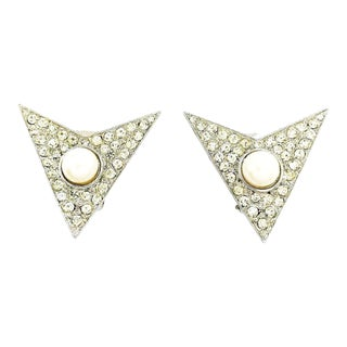 Modernist Triangular Earrings by Kenneth Jay Lane For Sale