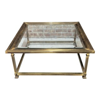Mastercraft Brass Picture Frame Glass Top Coffee Table For Sale