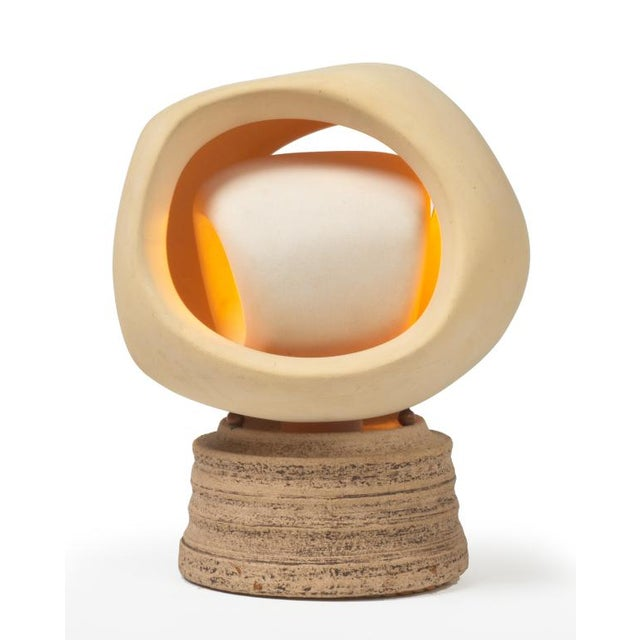 Enigmatic Bisque and Stoneware Table Lamp by SculpLight For Sale In New York - Image 6 of 9