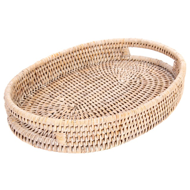 """Artifacts Rattan Oval Tray 10""""x8""""x1.5"""" For Sale"""