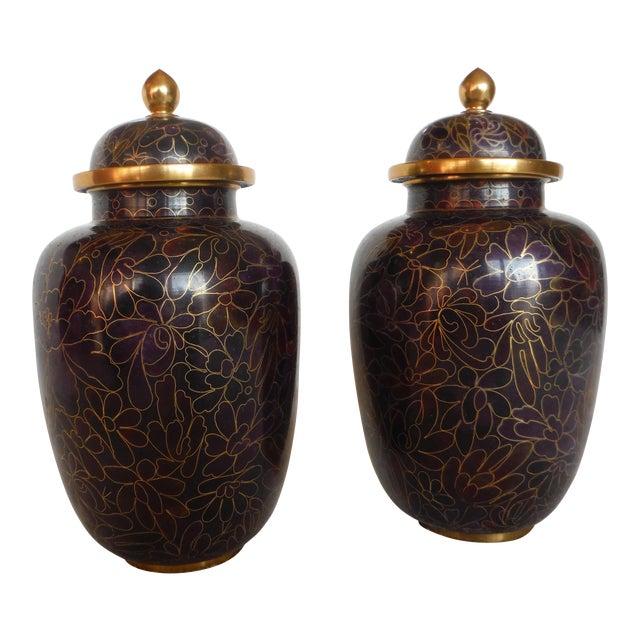 Purple & Gold Cloisonné Ginger Jars - a Pair - Image 1 of 7