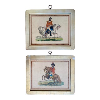 Early 19th C. French Empire Napoleonic Horseback Hand Painted Lithographs a Pair For Sale