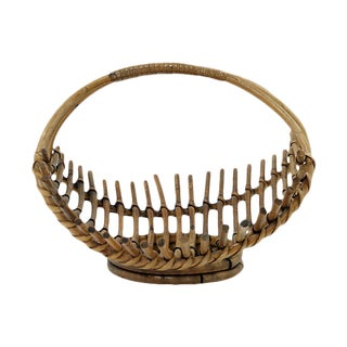 Mid-Century French Bamboo Fruit Basket For Sale