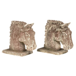 French Art Deco Stone Horse Heads
