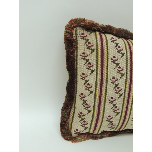 Petite 18th century floral tapestry pillow with cotton multi-color fringe and yellow linen backing depicting a floral and...