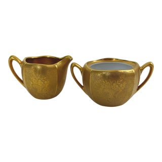 Vintage Gold Plated Creamer and Sugar Bowl - A Pair