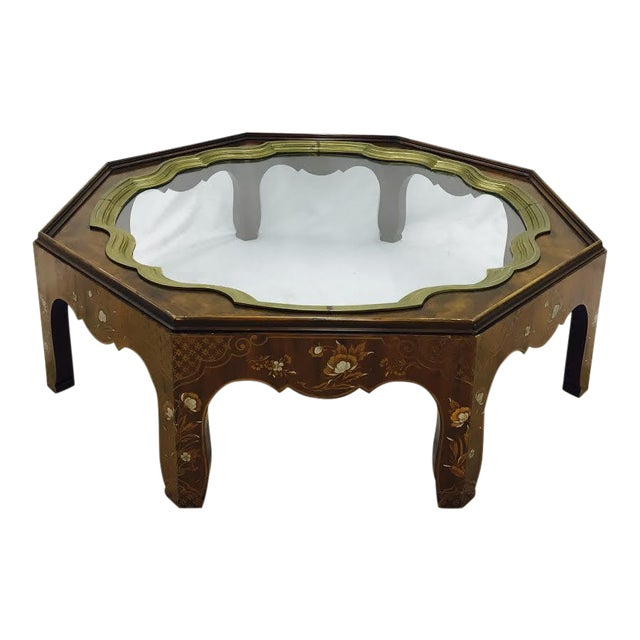 Baker Mid-Century Coffee Table with Brass & Glass Tray Top For Sale