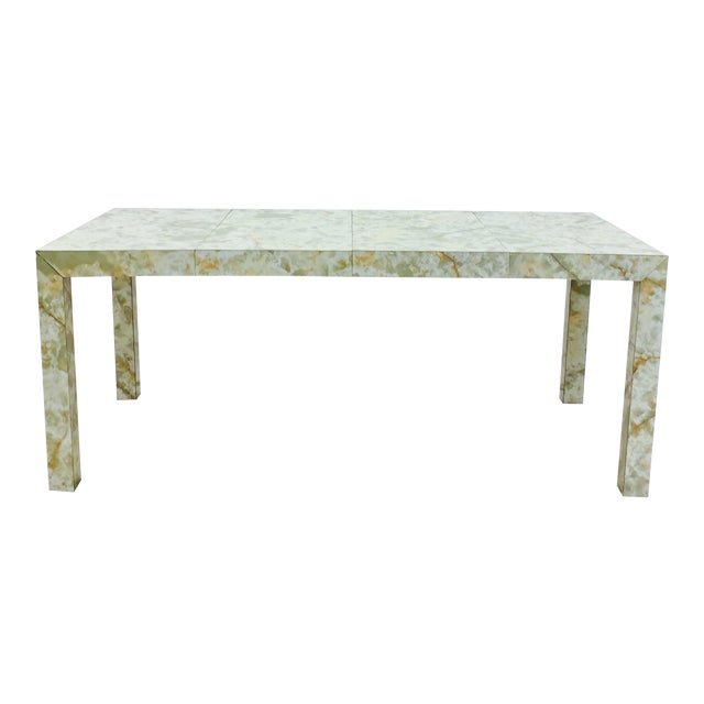 Vintage Mid-Century Modern Faux Marble Parsons Table For Sale