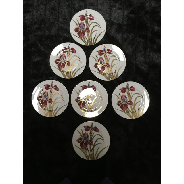 """Set of seven Fine porcelain salad plates by Fritz and Floyd. This pattern is called """"Iris Burgundy"""" Beautiful burgandy..."""
