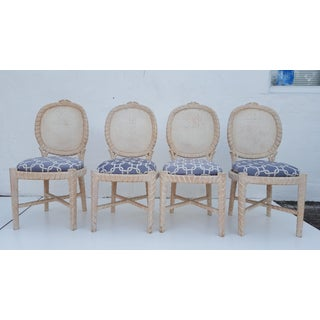 Vintage Faux Bois & Cane Back Dining Chairs - Set of 4 Preview