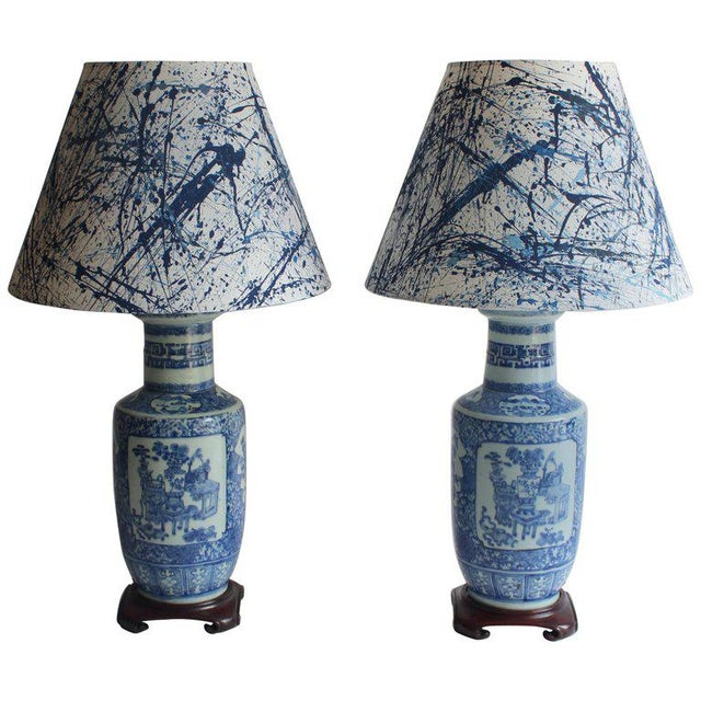 Pair of 19th Century Chinese Blue and White Vase Lamps For Sale - Image 10 of 10
