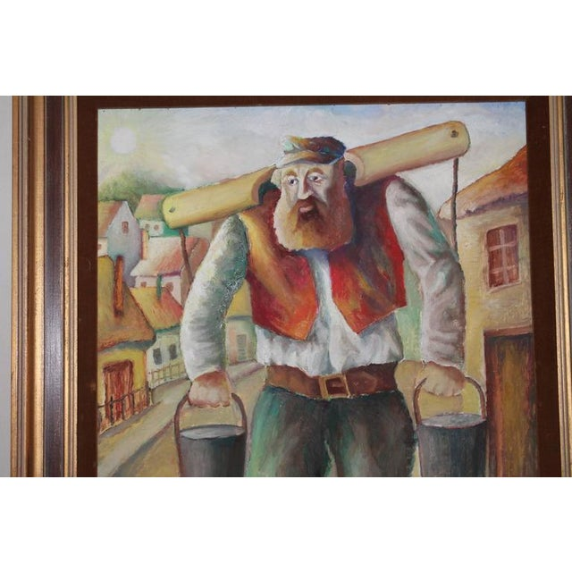 Signed and Dated Oil Painting of a Judaic Lumberjack For Sale - Image 5 of 5