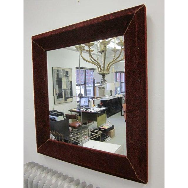 Traditional Venetian Antique Velvet Framed Mirror For Sale - Image 3 of 9