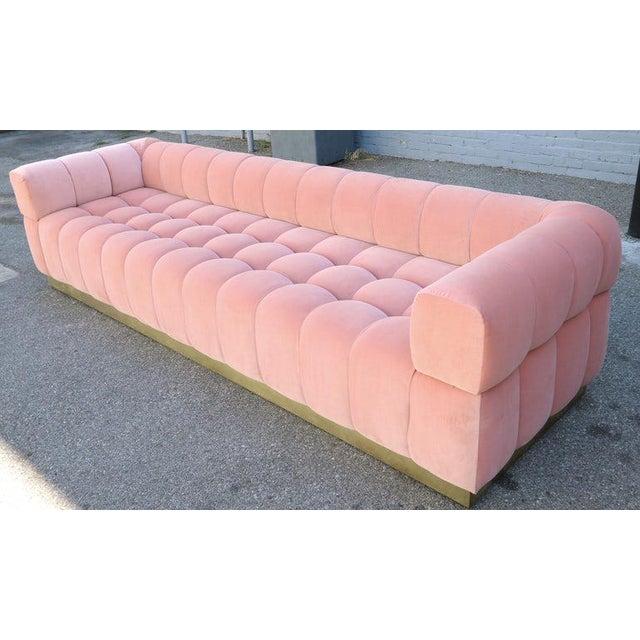 Custom Tufted Pink Velvet Sofa With Brass Base For Sale - Image 4 of 9