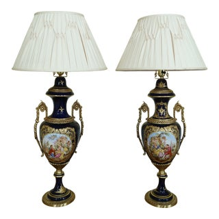 Pair Seures Porcelain Large Blue Urn Decorated Table Lamps For Sale