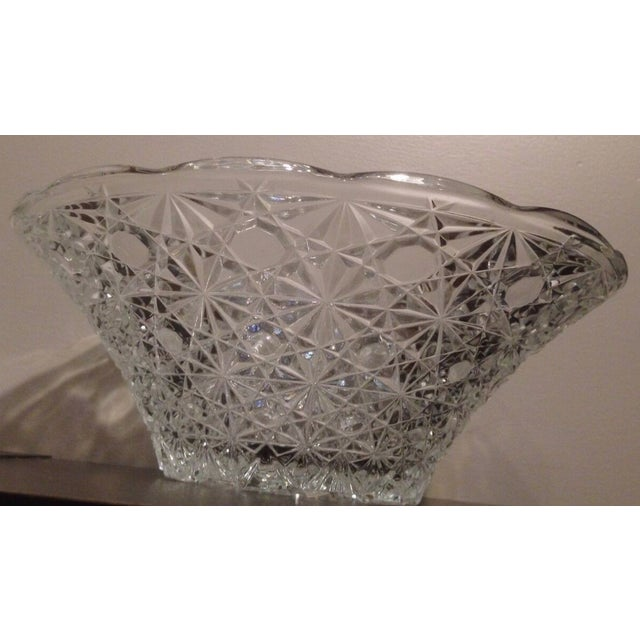 Traditional Vintage Cut Lead Crystal Bowl For Sale - Image 3 of 11