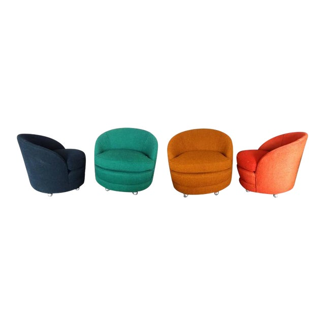 Four as Found Barrel Back Lounge Chairs on Casters For Sale