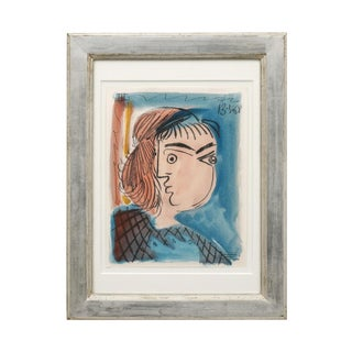 Mid Century Abstract Watercolor Painting of Woman by Raymond Debieve For Sale