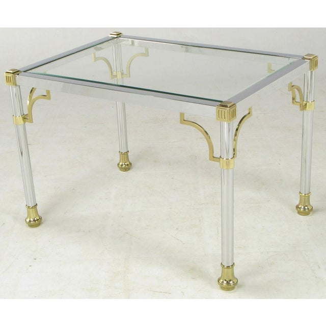 Hollywood Regency Chrome & Brass Regency Style End Table For Sale - Image 3 of 5