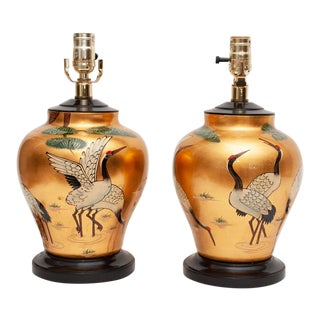 Late 20th Century 20th Century Chinoiserie Lamps - Pair - a Pair For Sale