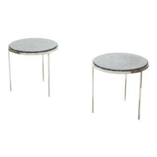 Stainless Steel and Granite Side Tables - a Pair For Sale