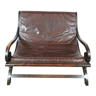Vintage Butaque Leather Bench