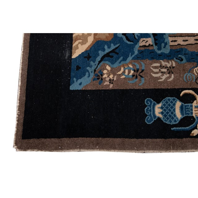 Early 20th Century Antique Art Deco Chinese Piking Wool Rug For Sale - Image 9 of 13