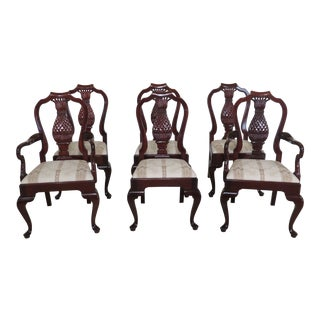 1990s Vintage Kindel Pineapple Back Mahogany Dining Room Chairs- Set of 6 For Sale