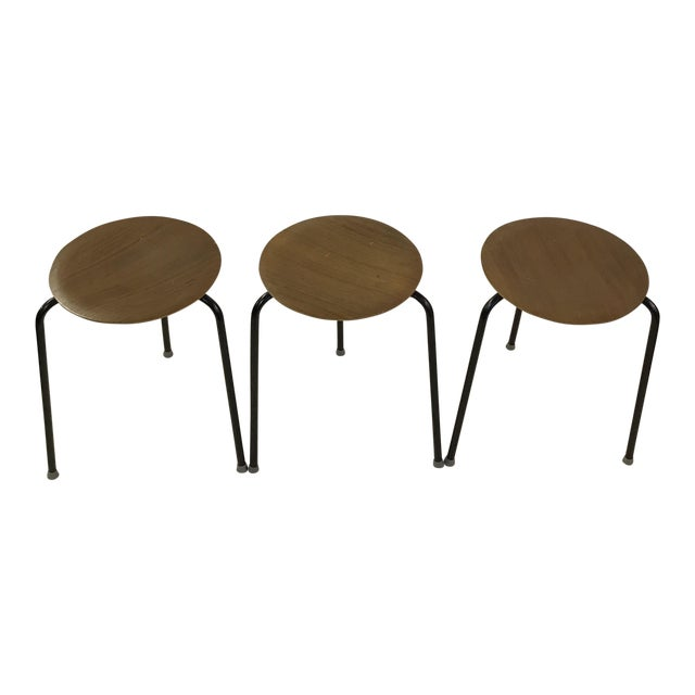 Danish Dot Stools in the Style of Arne Jacobsen - Set of 3 For Sale