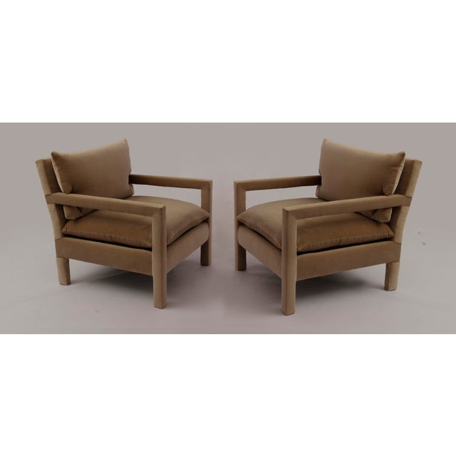 1970s 1970s Milo Baughman Parsons Lounge Chairs in Cotton Camel Velvet - a Pair For Sale - Image 5 of 5