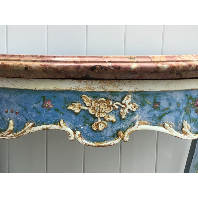 French Venetian Painted Marble Top Console Table For Sale - Image 3 of 12