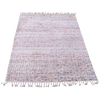 Moroccan Design Pink Wool Rug - 9'x12' For Sale