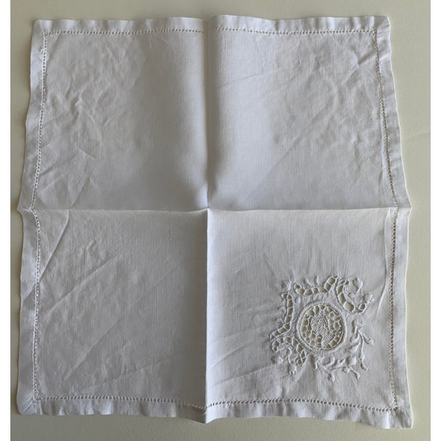 1940s Roman Coin Embroidered Linen Cocktail Napkins S/4 For Sale - Image 5 of 6