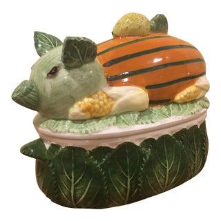 Vintage Neiman Marcus Pig Decorative Cabbage Dish For Sale