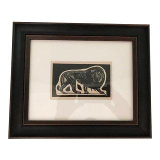 Antique Paul Jouve Framed Lion Print For Sale