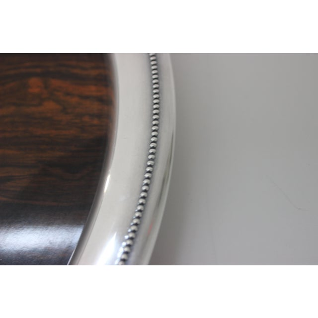 Vintage Sheffield Serving Tray Silver Plate & Faux Rosewood Laminate For Sale In West Palm - Image 6 of 8
