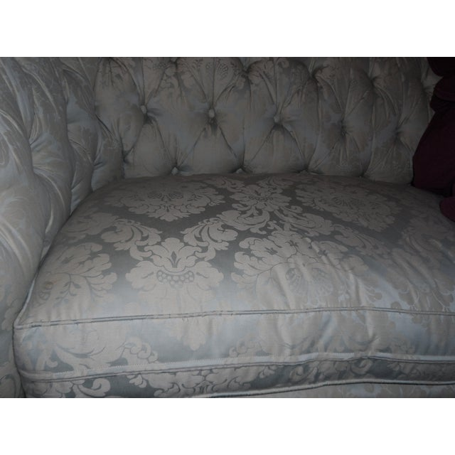 c4c2b0404af1 Blue Gorgeous Lillian August Chesterfield Down Tufted Sofa Damask Silver  Blue Ivory For Sale - Image