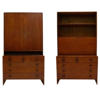 Monumental Hans J. Wegner for Ry Furniture Wall Unit With Chests and Secretary For Sale