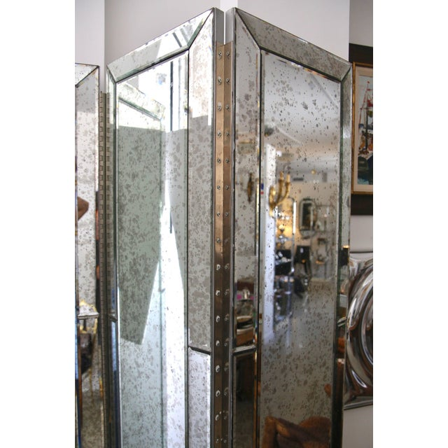 Silver Three-Panel Smoked Mirror Folding Screen For Sale - Image 8 of 12