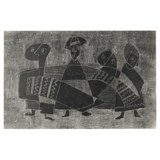 Jane Mitchell Monochromatic Cubist Figures, Original Monotype Print, 1960s 1960s For Sale