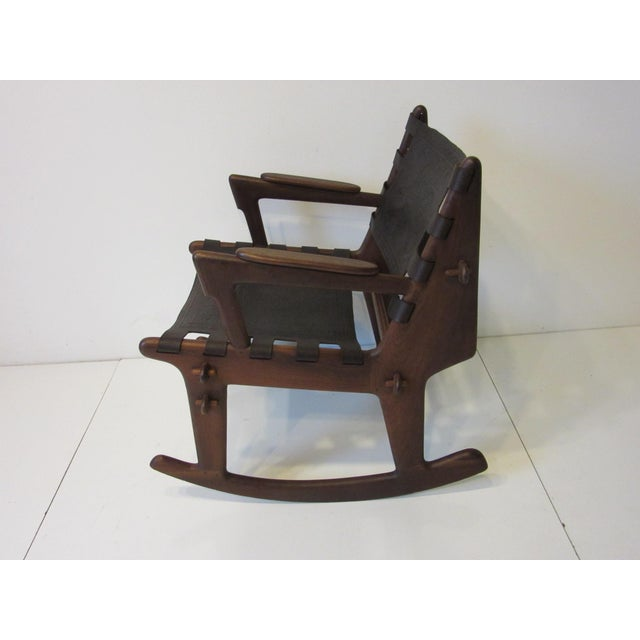 Angel I. Pazmino Angel Pazmino Mid Century Sculptural Rosewood Rocking Chair For Sale - Image 4 of 12