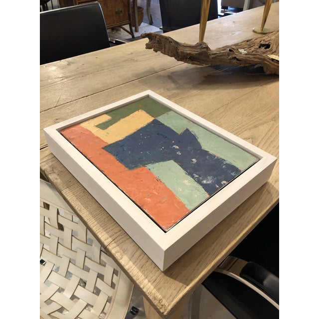 Mid-Century Danish Color Story on Board in Custom White Washed Floater Frame For Sale - Image 11 of 13