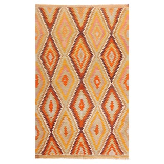 Vintage Geometric Golden-Yellow and Teal Wool Kilim Rug For Sale