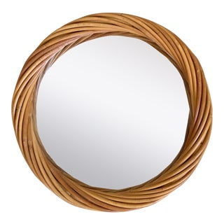 Vintage Pencil Reed Rattan Wall Mirror For Sale