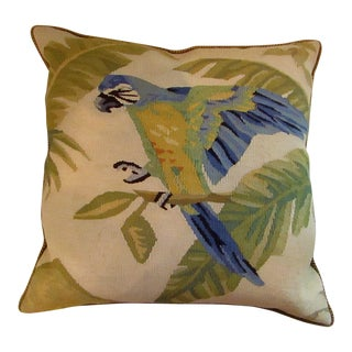 1950s Vintage English Tapestry Aubusson Parrot Pillow For Sale
